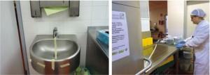 Auf den Testflächen wurde jeweils ein eMC Reiniger getestet, daneben ein her - kömmlicher Reiniger mit anschließender Desinfektion
